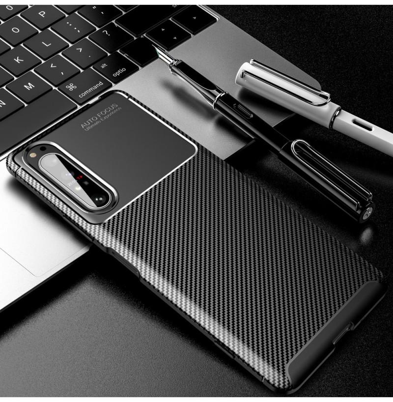 12563 - iPaky Carbon силиконов кейс калъф за Sony Xperia 1 II