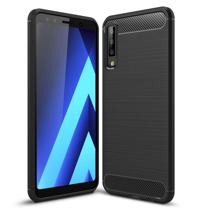 2048 - MadPhone Carbon силиконов кейс за Samsung Galaxy A7 (2018)