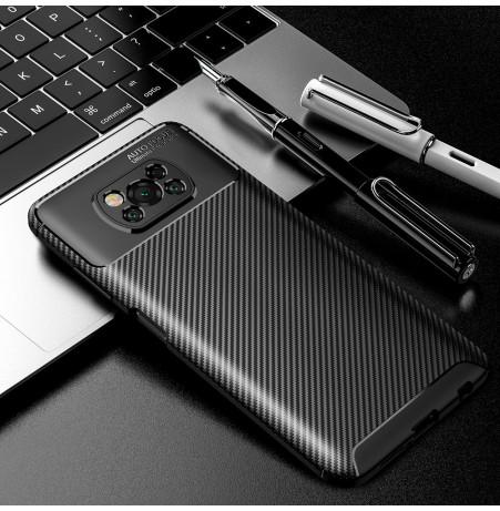 24992 - iPaky Carbon силиконов кейс калъф за Xiaomi Poco X3 NFC / X3 Pro