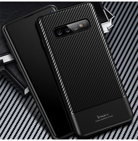 7002 - iPaky Carbon силиконов кейс калъф за Samsung Galaxy S10